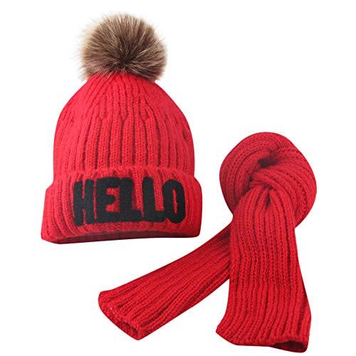 Fuibo Baby Mütze Schal Set, Kleinkind Mädchen & Boy Baby Winter häkeln Strickmütze Mütze Haarballen Mütze Schal Set | Baby Mütze Beanie Keep Warm Hut Strickmützen (Rot)