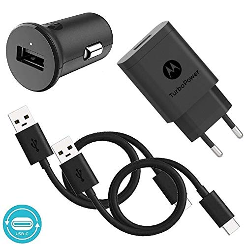 Motorola TurboPower 18 QC3.0 Ladegerät Bundle mit SC-52 Wandladegerät, Autoladegerät und 2 x SKN6473A USB-C Kabel für Moto Z, Z2, Z3, X4, One, One Power, G6, G6 Plus [NOT for G6 Play]