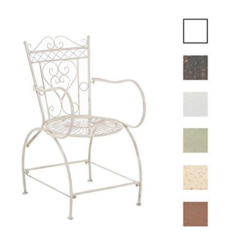 CLP Gartenstuhl Sheela im Jugendstil | Metallstuhl mit geschwungenen Armlehnen | Antiker handgefertigter Gartenstuhl aus Metall erhältlich Weiß