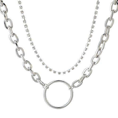 tte,Mode Persönlichkeit Übertrieben Geometrische Runden Diamanten Kette Multi-Layer Legierung Halskette Schlüsselbein Kette Kleidung Wilde Schmuck Decora ()