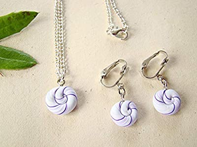 Coffret cadeau anniversaire set collier et boucles d'oreilles clips sucettes, bijou pate fimo violet