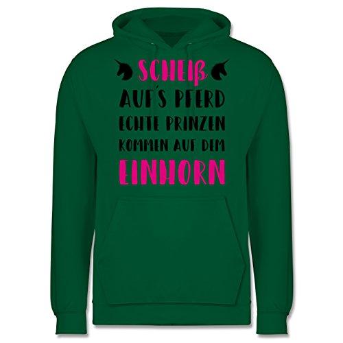 Statement Shirts - Scheiß aufs Pferd echte Prinzen kommen auf dem Einhorn - Männer Premium Kapuzenpullover / Hoodie Grün