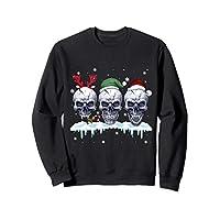 Three Skull Santa Claus Funny Christmas Reindeer Santa Elf Sweatshirt
