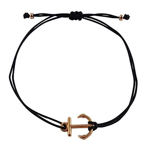 Nilian Armband Rosegold - Filigrane Frauen Armbänder - perfekt geeignet als Geschenk (Anker roségold schwarz)