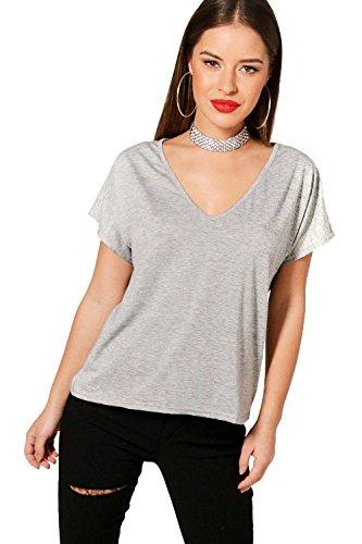 Petite V-ausschnitt Bluse (Graue Marl Damen Petite Milly lässiges T-Shirt mit V-Ausschnitt - 6)