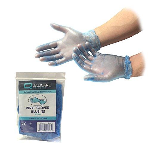25Paar one size blau Vinyl Premium Einweg unsteril Medical Erste Hilfe Puder Latex kostenlos Durable Schutz Mehrzweck-Lab Tattoo vet Zahnarzt Mechaniker Medic einzeln verpackt Paar Handschuhe (Steril Verpackt Latex)