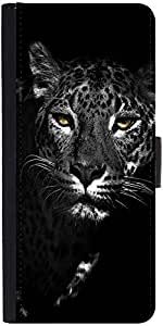Snoogg Black And White Leopard Graphic Snap On Hard Back Leather + Pc Flip Co...