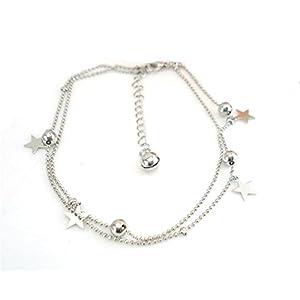 Boowhol Damen 925 Sterling Silber Fußkette Doppelketten Armband Fuß dekorativen Perlen Sterne