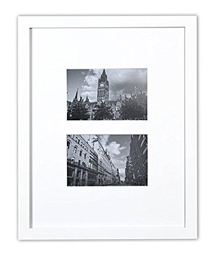Golden State Art 11x 14Foto Collage Rahmen mit Echtem Glas und Weiße Matte für (2) 4x 6Bilder, Holz, Weiß