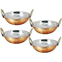 Juego de 4 cuencos de cocina de cobre indio Karahi con mango de latón macizo para
