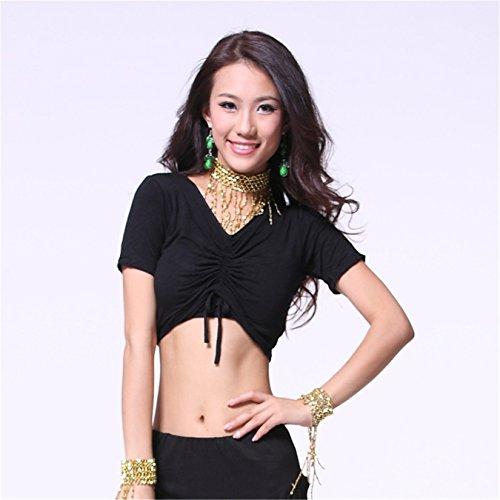 Women Sexy Dance Tops Bauchtanz Costume Cotton Sleeve V-neck Top Dancewear Bauchtanz Tops Black