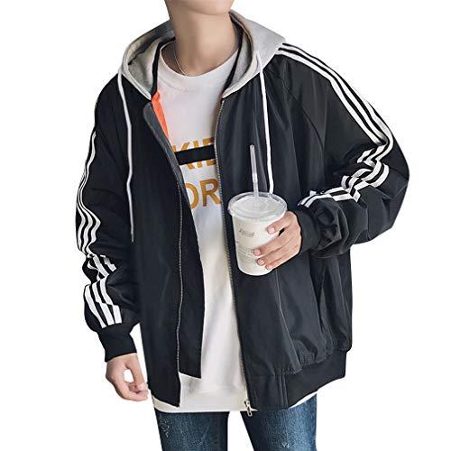 Herren Kapuzen mit reißverschluss Trainingsjacke Tops Freizeit Langarm Kapuzensweatshirt 4 Farben M-5XL (Trenchcoat Junior)