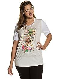 d30a228052890 Ulla Popken Femme Grandes Tailles   T-Shirt uni Motif Faon Tendance Femme  Manches Courtes