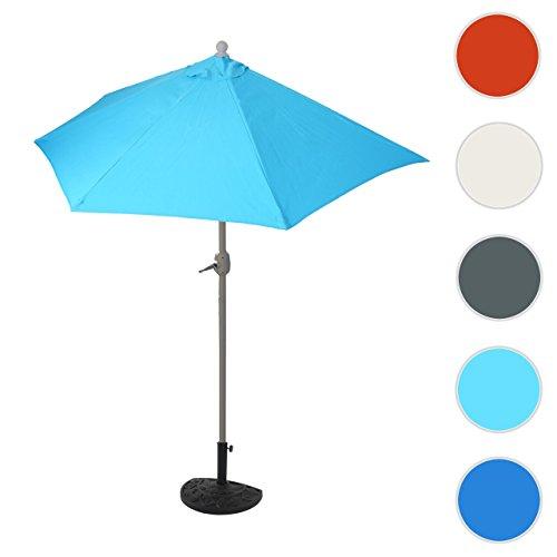 Mendler Sonnenschirm halbrund Parla, Halbschirm Balkonschirm, UV 50+ Polyester/Stahl 3kg ~ 270cm Türkis mit Ständer