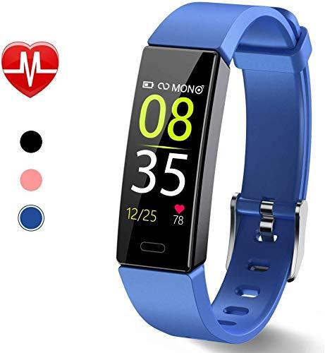 Dwfit Fitness Uhr mit Pulsmesser,Wasserdicht Fitness Armband Aktivitätstracker Fitness Tracker Schrittzähler Uhr Sportuhr für iOS Android Handy(Blau)
