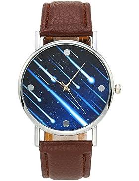 JSDDE Fashion Armbanduhr Meteor Muster Zeitloses Design Silber Analog Quarzuhr Lederarmband Kleid Uhren,Braun
