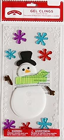 Christmas Winter Snowman Gel Window Clings ~ Snowman with Hat & Scarf & Snowflakes (1 Sheet, 13 Clings) by Impact Innovations