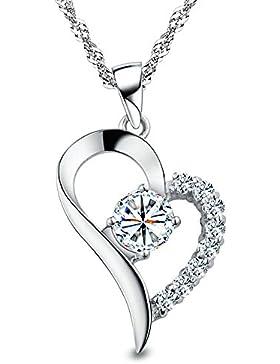 Kim Johanson Herz Kette Weiß 925 Sterling Silber mit Zirkonia Steinchen besetzt Halskette & Anhänger inkl. Geschenkverpackung
