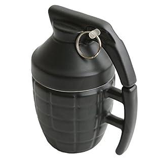 Ailiebhaus 280ML Ceramic Grenade Mug Coffee Cup with Lid, Black