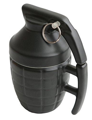 Ailiebhaus Tasse Handgranate, aus Keramik, mit Deckel, Füllmenge: 280 ml, Schwarz