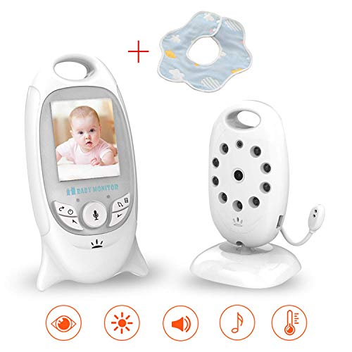 HelloBaby Video Babyphone mit Remote-Kamera Pan-Tilt-Zoom 3,2-Zoll-Farb-LCD-Bildschirm Infrarot-Nachtsicht Temperatur/überwachung Zwei-Wege-Gespr/äch HB65 Champagner Gold