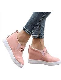 Zapatillas Deportivas De Mujer Cuña Ante Piel Altas Plataforma 7 CM Tacon Sneakers Planos Zapatos Mocasines Comodas…