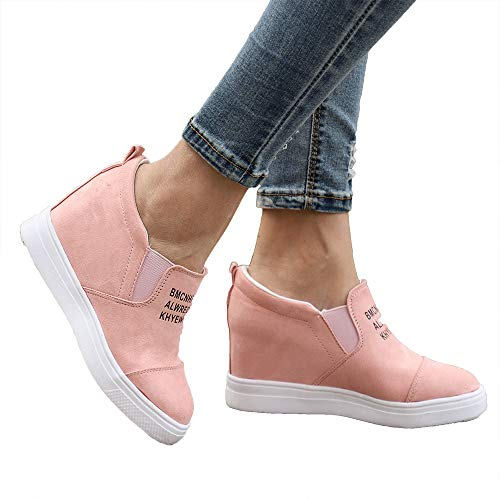 Miuko Plateau Sneaker Damen Leder Keilabsatz Hohe 7 cm Absatz Slip On Wildleder Loafers Wedges Ankle Boots Casual Bequeme Rosa 38