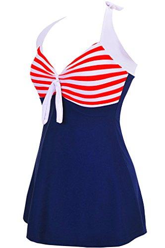 Labelar Damen Schwimmenanzug Swimming Dress Badeanzug Neckholder Badekleid Rock Große Plus Size Swimsuit Rot-Streifen