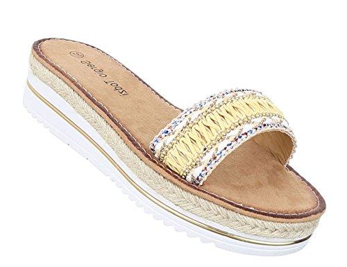 Damen Sandalen Schuhe Strandschuhe Sommerschuhe Pantoletten Gelb