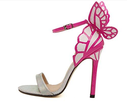YCMDM Femmes Eté Nouveau Papillon Fleurs Cool Hollow Spell Couleur Avec Talons Hauts Sandales silver with high 11cm