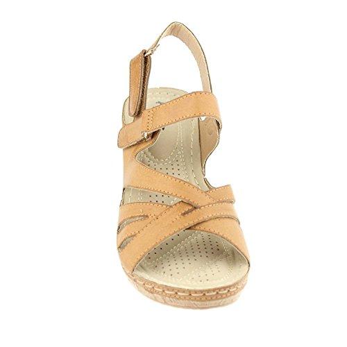 Aarz Frauen-Dame-Abend Comfort Lässige Leichte Keilabsatz Sandalen Partei Schuhe Größe (Schwarz, Kamel) Kamel