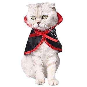 Costume de Chat, Legendog Costumes pour Animaux de Compagnie de Halloween Cute Cosplay Vampire Cape Cape pour Petits Chiens Chats
