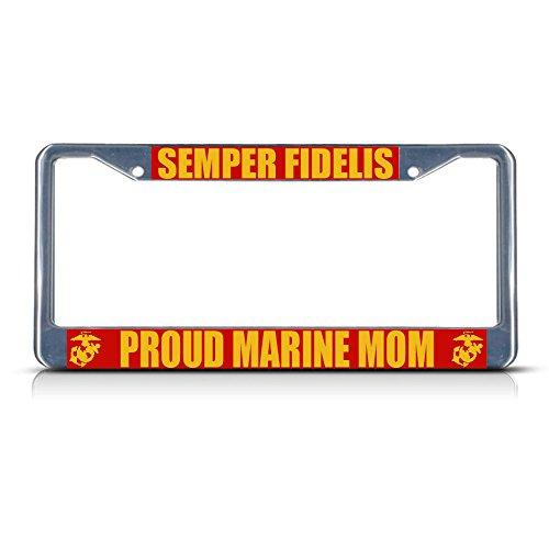 Preisvergleich Produktbild Semper FI Stolze Marine MOM Metall-Kennzeichenrahmen,  2 Löcher,  perfekt für Herren und Damen,  Auto-Garadge Dekor
