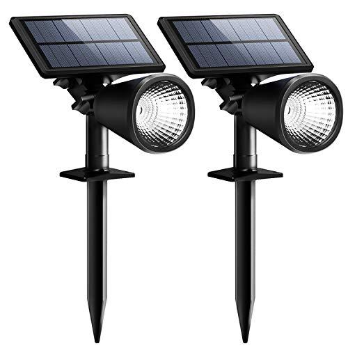 【 ENERGIESPAREND】Mpow 2 Stück Solarleuchten, Solarlampe Outdoor Wandleuchte, Scheinwerfer im Freien Außenbeleuchtung wasserdicht Wandlicht, Sicherheitsleuchte für Garten, Garage, Auffahrt, Pfad, Hof