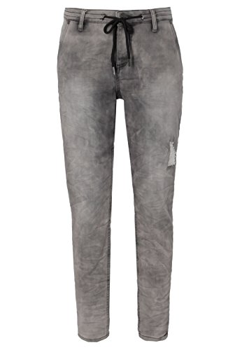 Urban Surface Bequeme Damen Sweat-Hose in Jeansoptik | Skinny Fit Jogg-Pants mit Destroyed Parts & Used Look middle-grey S