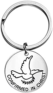 Anlive Confirmed in Christ Adjustable Bangle Confirmation Dove Pendant Charm Bracelet Keychain Religious Gifts