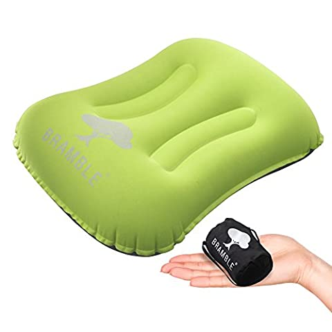 Bramble Oreiller portable – Pour camping, activités en plein air et voyage - Une texture soyeuse et douce - Pliable jusqu'à être minuscule (Green)