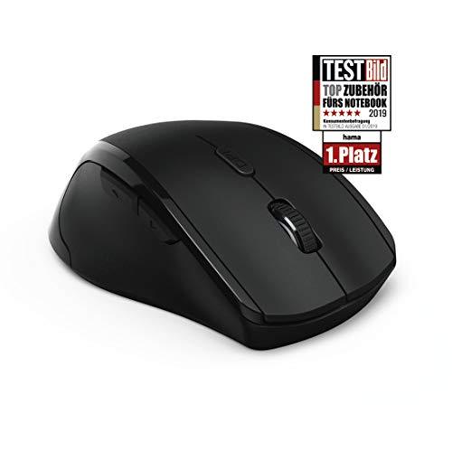 Hama PC optische Funkmaus Maus (für Linkshänder, mit USB Nano Empfänger, kabellos, 800 - 1600 dpi, Ein-/Ausschalter, 3 Tasten inkl. Browser-Tasten, 2,4 GHz) schwarz