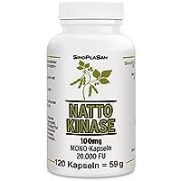 Nattokinase 100mg pro Kapsel (vegan), 120 Kapseln, 20.000 FU, ohne Vitamin K1 & K2, ohne Magnesiumstearat, MIT ANALYSEN
