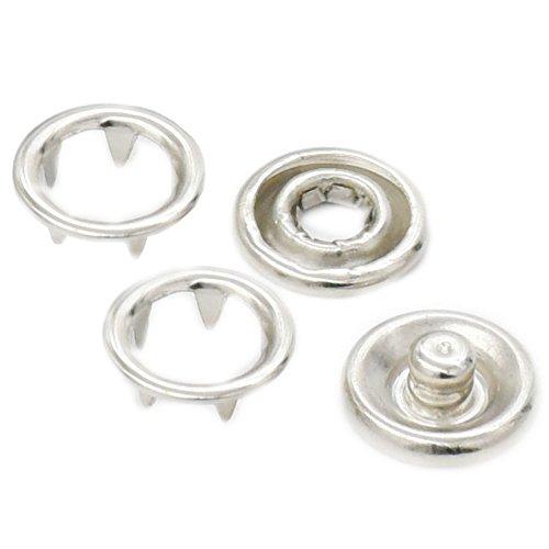 fujiyuan 25PCS offener Ring keine sew Druckknöpfe 3/20,3cm 9,5mm gurthalteband Swing Stud Befestigung Tasten Nickel - Eine Taste Swing