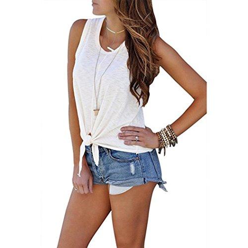 TUDUZ Damen Sommer O-Ausschnitt Armellose Shirt Bluse Vorne Krawatte Knoten Cami Tank Tops