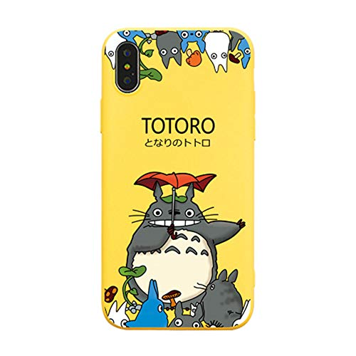iPhone XS Max Hülle, für iPhone XS Max Cover, Cute Cartoon Anime My Neighbor Totoro Full Print Soft Case Cover for iPhone XS Max XR 6S 7 8 Plus, for iPhone 7/8, gelb (Iphone 6 Soft Case Cartoon)