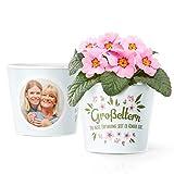 Facepot Oma und Opa Geschenke - Blumentopf (ø16cm) mit Bilderrahmen für Zwei Fotos (10x15cm) - Großeltern Erfindung seit es Kinder gibt