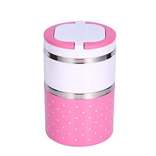 Portapranzo termico portatile in acciaio inossidabile per pranzo isolamento termico di contenitori alimentari con strati ermetici termico (2 strato(900ml), rosa)