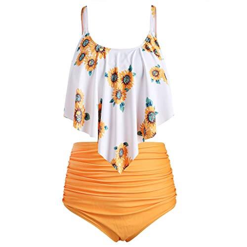 TUDUZ ♕ Sonnenblumen Druck Bikini Set ♕ Bikini Tankini 50er Damen Retro Vintage Bikini Sets High Waist Bademode Rüschen Badeanzug Falten Schwimmanzug Swimsuit(Small,F-Gelb) -
