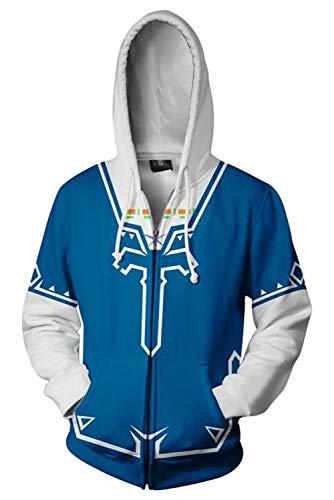 Karnestore The Legend of Zelda Link Mantel Zip-up Hoodie mit Kapuze Blau M -