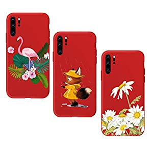 Oihxse Compatible with Huawei P20 Case 3 Pieces with Fashion Design, Soft TPU Bumper Ultra-Thin [Wireless Charging] Back Cover, [Anti-fingerprint] [Non-Fade] Red Matte Finish Skin Shell(4)   1