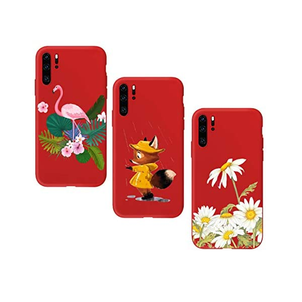 Oihxse Compatible with Huawei P20 Case 3 Pieces with Fashion Design, Soft TPU Bumper Ultra-Thin [Wireless Charging] Back Cover, [Anti-fingerprint] [Non-Fade] Red Matte Finish Skin Shell(4) Oihxse 🦜【Ultra-Thin & Slim Fit】3pcs Ultra-Slim design snugly fit for your Huawei P20 to bring [Sleek Look], [Stylish Charming] and [Great in-hand Feeling] due to the process with matte finish compliment with fashion pattern on the mobile phone case back-red colour. 🦜【Support Wireless Charge】With precision cutouts of the Huawei P20, you can easy access to headphone jack, charger port, key mute, speakers, audio ports and buttons without the interference of [WiFi Reception], [Signal Reception], [Wireless Charging Performance], etc. 🦜【Anti-Fingerprint & Non-Fade Material】Crafted with soft anti-yellowing and non-fade TPU material with red frosted finish to provide you fingerprint resistant, anti-slip, daily scratches, bumps, drops and other daily damages. 1