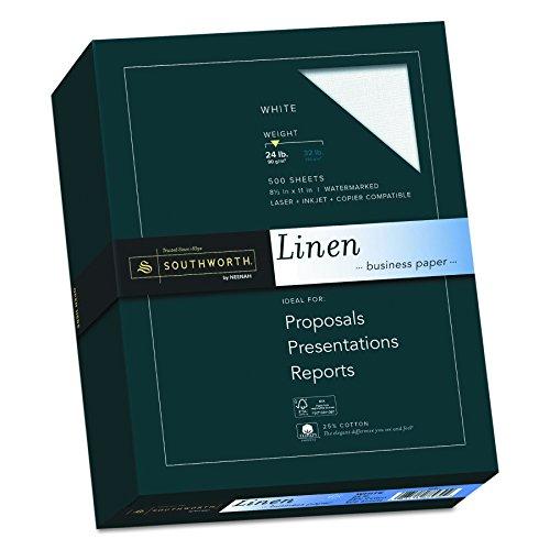 25% Cotton Linen Business Paper, White, 24 lbs., 8-1/2 x 11, 500/Box, FSC