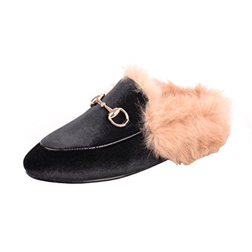 YE Damen Flache Mules Leder Pantoletten Geschlossen mit Fell Bequem Slipper Schuhe (Fell, Leder-clogs)